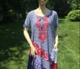 Embroidered cotton handmade dress bohemian lagenlook, patriotic patchwork