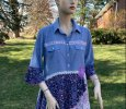 Upcycled women's shirt dress cotton tunic prairie blouse, hippie clothing
