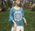 Upcycled clothing gauze linen lagenlook vintage lace and doily plus size, natural fiber clothing