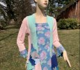 Upcycled jean romantic hippie clothing, swing top, floral denim