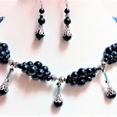 Double-Strand Pearl Jewelry Set with Caged Pearl Drops