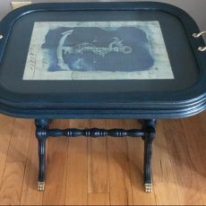 Nautical Inspired Side Table with Removable Tray Top