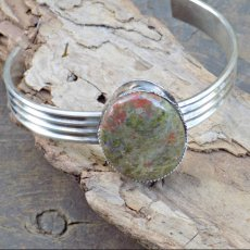 Wide Sterling Cuff with Green Lace Agate