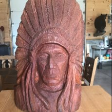 Solid Cherry Chief Headdress Carving