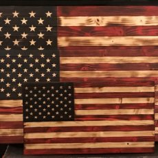 Rustic Wood American Flags