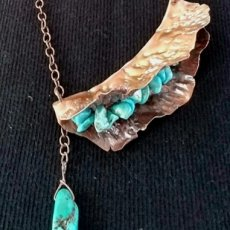 Copper turquoise pod necklace