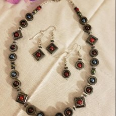 Hematite & Multi-Color Glass Pearl Necklace & Earring Set