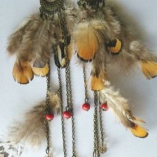Orange & Brown Feather Long Dangle Gold Earrings