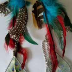 Long Faux Feather and Silver Dangle Earrings Almost 14 Ins. Hook Red Blue Silver