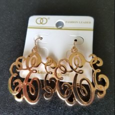 Copper-Color Scroll-Type Dangle Earrings Hanging About One & One-Half Inches