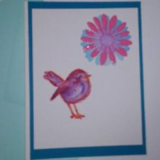 Blank card with bird and flower - Say what you want to say :)
