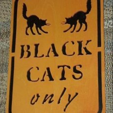 Halloween BLACK CATS ONLY window display  fretwork hand painted orange black