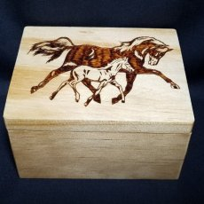 Handmade Wood Burned Horse with Foal Gift Box