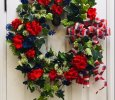 Round Red, White, and Blue Patriotic/Summer Front Door Wreath with Plaid Wired Bow