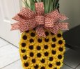 Small Sunflower Pineapple Door Hanger/Wreath with a Summer/Fall Bronze Printed Wired Bow