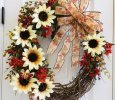 Summer/Fall Wreath with White Sunflowers, Greenery, and Rust Colored Flowers, with Fall Ribbon