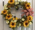 "25"" Grapevine Wreath with Yellow Sunflowers, Greenery, Leaves, Off White Flowers, Bee Floral Pick"
