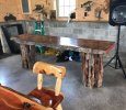 Live Edge Pin Oak Slab with Aquarquana Base
