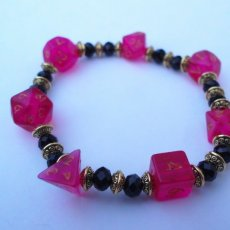 Pink Dice and Black Bead Bracelet