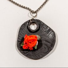 Metal clay fired blackened  bronze with polymer clay roses necklace