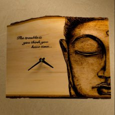 Wood Burned Clock-Buddha with Quote