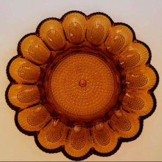 Indiana Glass Egg Plate Tray Hobnail Amber Glass 11""