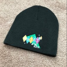 Knit cap with embroidery band logo