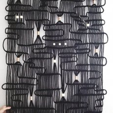 Black and Copper Modern Macrame Wall Art Hanging