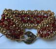 Handwoven Red & Gold Fire-Polish/Seed Bead Bracelet