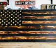 Rustic Burnt Wood American Flag