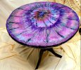 Eco-Epoxy Resin Geode Pedestal  Table :Glitter""