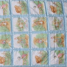 Handmade crib sized 44x54 inch quilt, all cotton