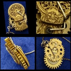 Up-cycled etched Fusee w/ rotating gears pendant