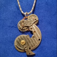 Whale, Pocket watch parts soldered, w/rotating gears