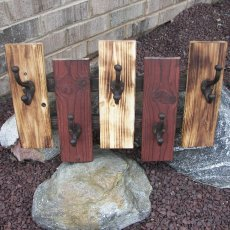 Wooden Wall Organizer with 5 Hooks