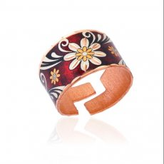 Copper Handmade Daisy Flower Rings with Red Background - Art Jewelry