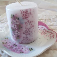hand-painted candle and saucer