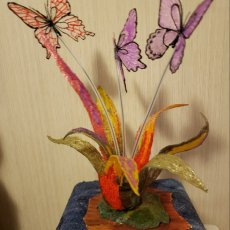 3d art sculpture Abstract Flower with butterflies on a stone and wood stand