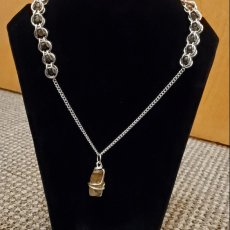 Tiger's Eye and Chain Maille Necklace
