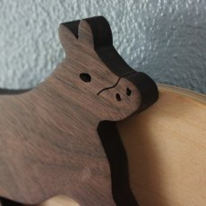 Handcrafted The Cow That Jumped Over The Moon Wood Peg Hook Rack
