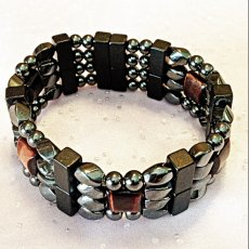 BRACELET:  Black Beads and Twists with Red Tiger Eye Four Strand