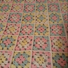 Crochet Baby Blanket - Granny Square, Pink