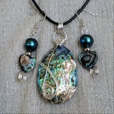 Abalone Pendant and Earring set