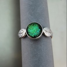 Green Leaves Dichroic Glass and Sterling Silver Ring sz 8.75