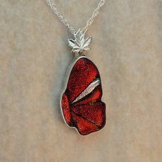 Red and Silver Small Butterfly Wing Mosaic Pendant