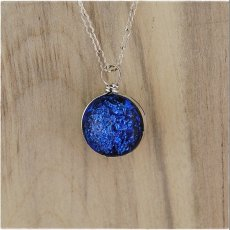 Blue and Salmon Dichroic Glass & Sterling Silver Ball Pendant