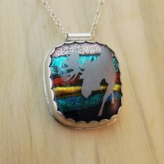 Sunrise Moose Mosaic Sterling Silver and Dichroic Glass Pendant