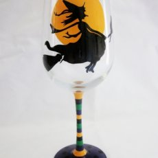 Flying Witch Halloween Wine Glass