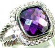 Amethyst square cut sterling silver ring