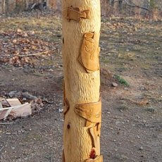 FOR THE FISHERMAN - BASS AND TROUT RELIEF HAND CARVED CEDAR POLE
